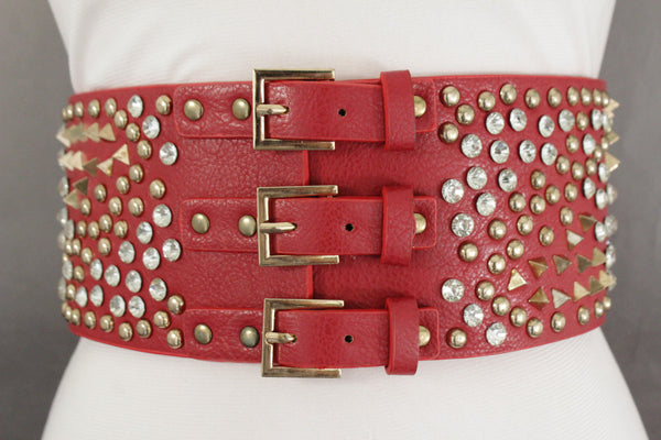 New Red Women Wide Corset Belt Hip Elastic High Waist Spike Stud Bead 3 Buckles S M