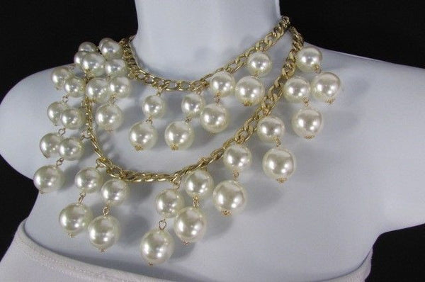 Gold Metal Long Double Chains 2 Strands Big Pearl Beads New Women - alwaystyle4you - 6