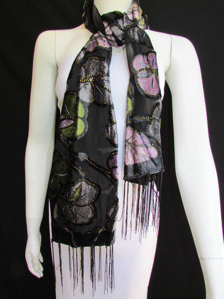Black Long Fabric Neck Scarf Metallic Big Flowers Faux Velvet New Women Fashion Fashion - alwaystyle4you - 7
