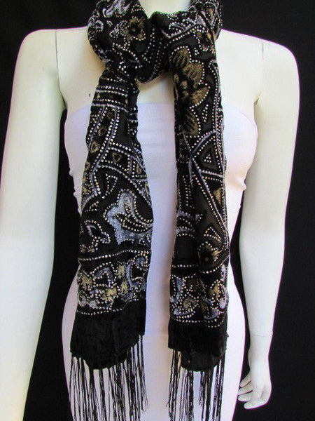 Women Scarf Black Multi Colors Big Flowers Faux Velvet European Stylish Shades - alwaystyle4you - 8