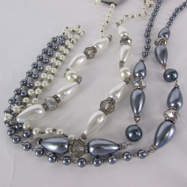 Long Imitations Pearls Necklace Small Gray Beads Beige Silver Color + Earrings Set New Women Fashion - alwaystyle4you - 8