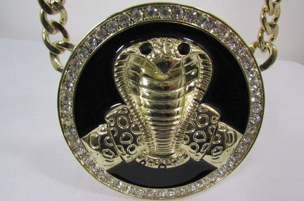 Gold Metal Black Huge Cobra Large Snake Necklace Big Pendant New Men Fashion Style - alwaystyle4you - 2