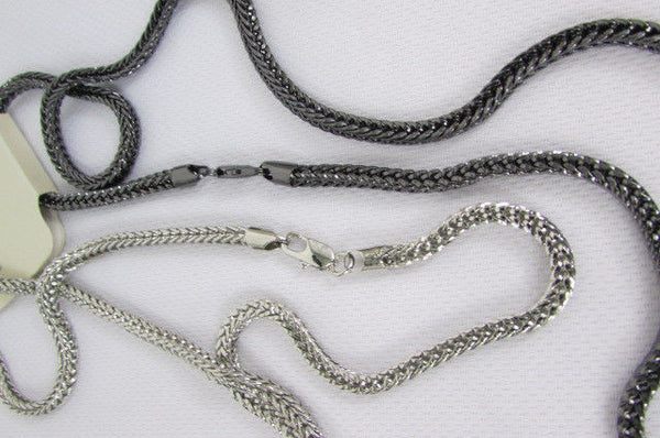 Pewter / Silver Metal Chains Long Necklace Boarded Cross Pendant New Men Hip Hop Fashion - alwaystyle4you - 13
