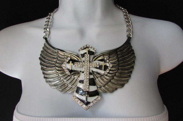 Big Bow Zebra Angel Wings Pendant Black Cross Stripes Rhinestones New Women - alwaystyle4you - 10