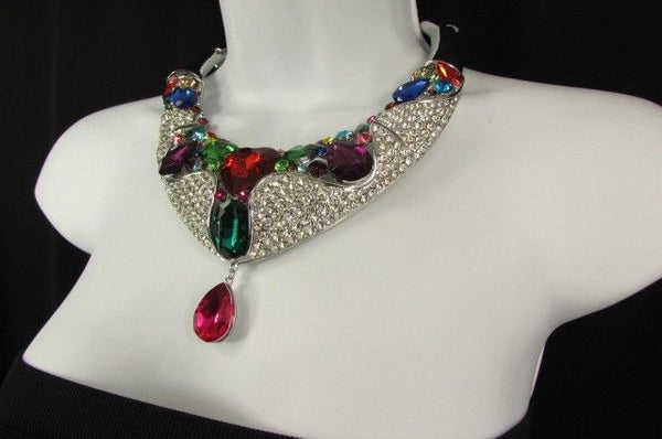Silver Metal Multicolor Alloy Charm Bib Necklace New Women Fashion Jewelry - alwaystyle4you - 10