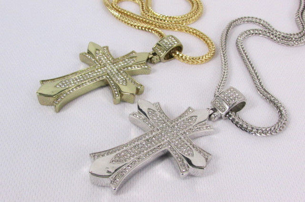 "Silver / Gold Metal Chain 35"" Long Fashion Necklace  Large Cross Pendant New Men - alwaystyle4you - 15"