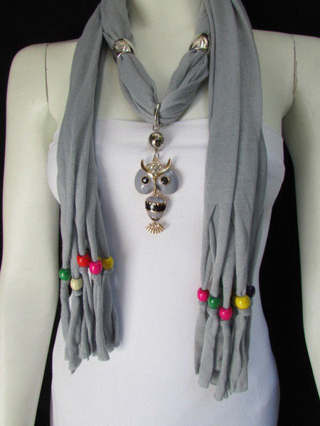 Black, Blue, Beige, Gray, White Soft Scarf Long Necklace Multicolors Wood Beads Owl Pendant New Women Fashion Accessory - alwaystyle4you - 1