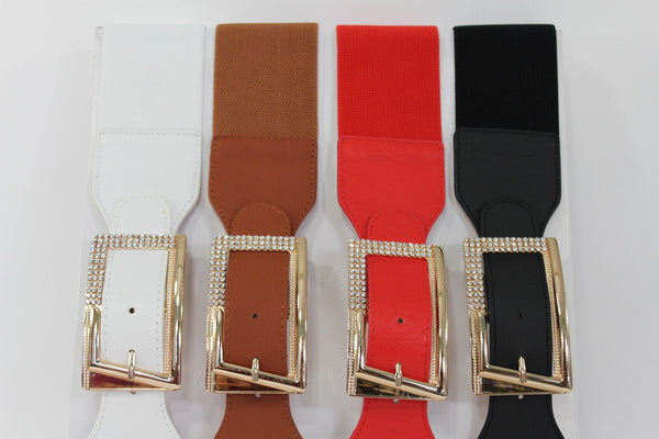 Black / Red / White / Brown Faux Leather Tie Hip Waist Belt Square Gold Rhinestones Buckle New Women Fashion Accessories M L - alwaystyle4you - 7