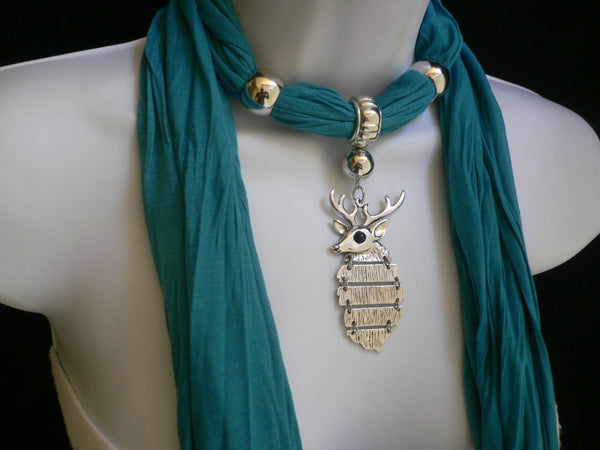 Green  / Red / White / Blue / Beige / Pink / Mustard Long Soft Scarf Necklace Silver Metal Deer Head Pendant For Christmas New Women Fashion - alwaystyle4you - 34
