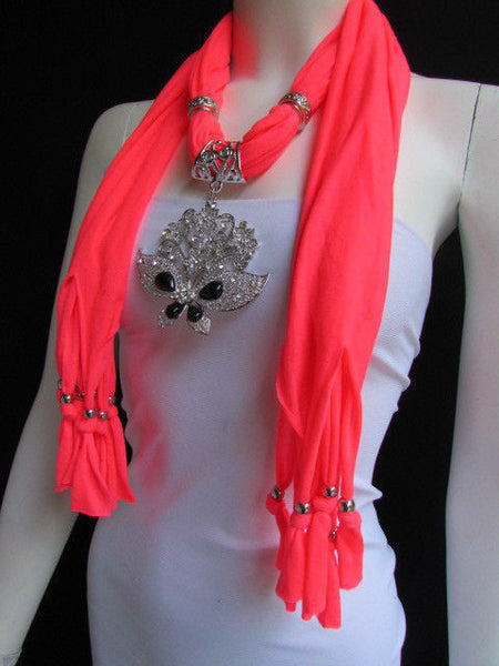 Black Blue Purple Pink Brown Dark Gray Red Bright Coral Green Soft Fabric Scarf Necklace Silver Flowers Butterfly Pendant New Fashion Accessory - alwaystyle4you - 81
