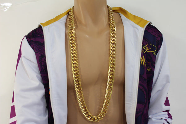 Gold Metal Chain Links Extra Long Necklace New Men Chunky Gangster Hip Hop Biker Fashion - alwaystyle4you - 11