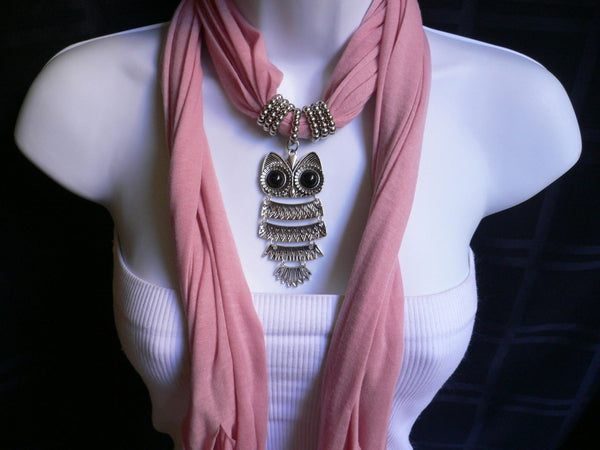 New Women Long Beige / Pnk Soft Scarf Fashion Necklace Silver Owl Pendant Rhinestones - alwaystyle4you - 28