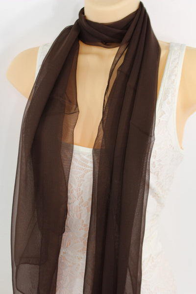 Dark Brown Dark Green Dark Blue Brown Neck Scarf Long Soft Sheer Fabric Tie Wrap Classic New Women Fashion - alwaystyle4you - 1