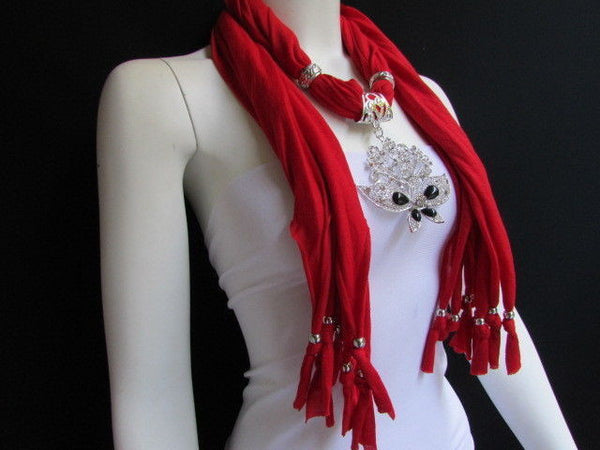 Black Blue Purple Pink Brown Dark Gray Red Bright Coral Green Soft Fabric Scarf Necklace Silver Flowers Butterfly Pendant New Fashion Accessory - alwaystyle4you - 85