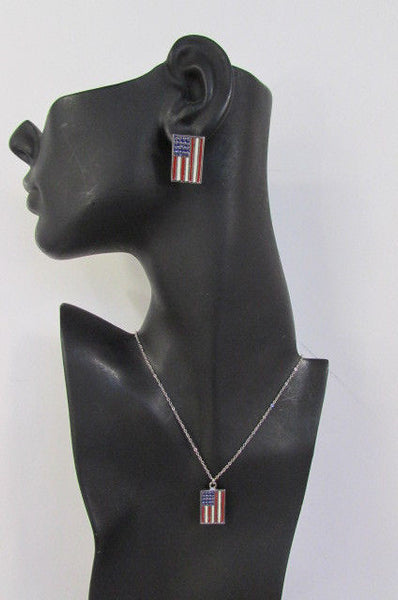 USA American Flag Star/Square/Heart Silver Metal Necklace + Matching Earring Set New Women - alwaystyle4you - 26