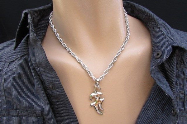 Chic Trendy Style Silver Chain Necklace Trible Pendant New Men Fashion #1 - alwaystyle4you - 5