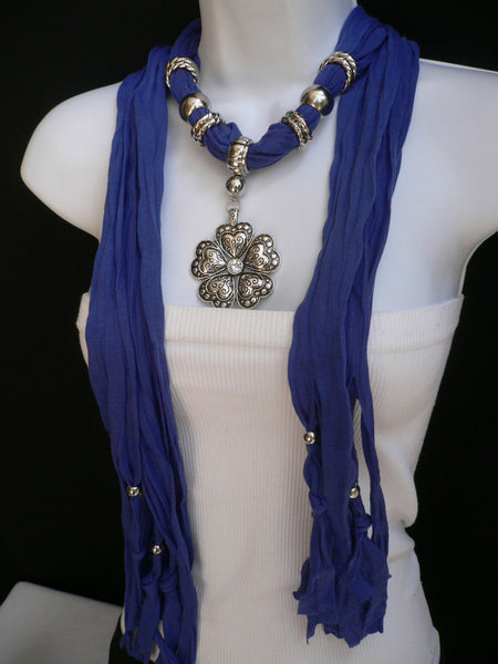 Blue Light Blue Black Dark Brown Light Pink Coral White Soft Scarf Necklace Heart Flower Silver Pendant New Women Fashion 6 Different Colors - alwaystyle4you - 13