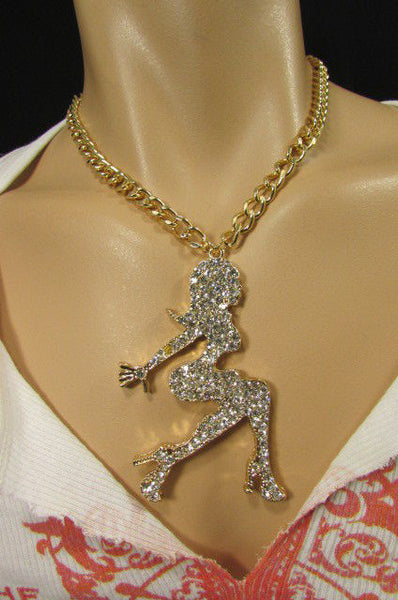 Gold Metal Chains Fashion Necklace Big Silver Rhinestone Sexy woman Shape Pendant New Men Fashion - alwaystyle4you - 2