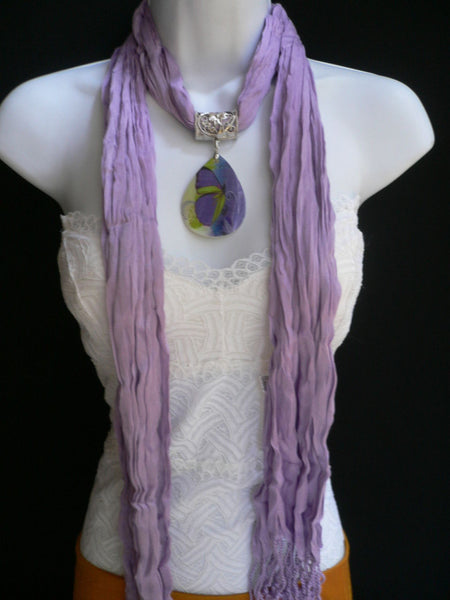 Lavander Scarf Necklace Big Seashell Pendant Purple Butterfly New Women Fashion - alwaystyle4you - 9