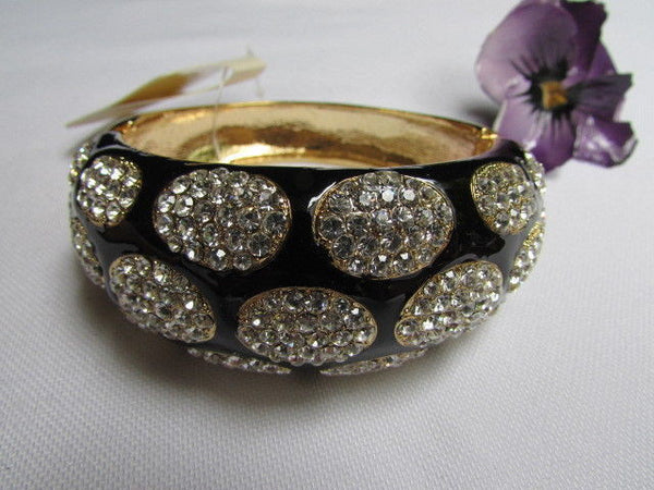 Gold Metal Wide Bracelet Black Animal Print Silver Rhinestone New Women Fashion Jewelry Accessories - alwaystyle4you - 11
