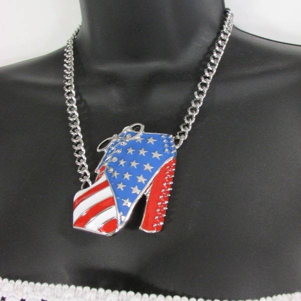Large Metal High Heels Shoes Pendant Fashion Chains Gold / Silver Rhinestones American Flag USA Stars Necklace + Earrings Set - alwaystyle4you - 14