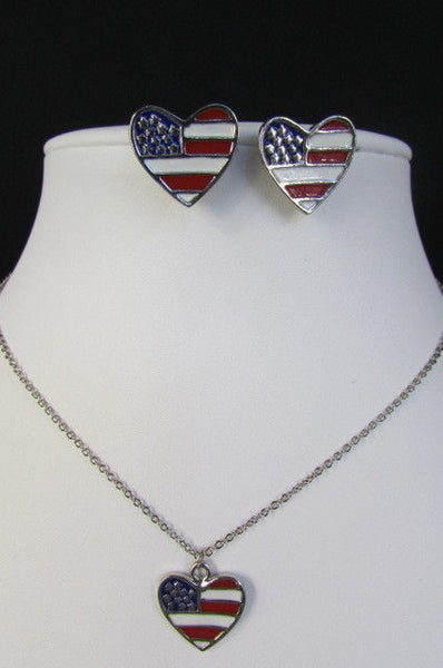 USA American Flag Star/Square/Heart Silver Metal Necklace + Matching Earring Set New Women - alwaystyle4you - 15