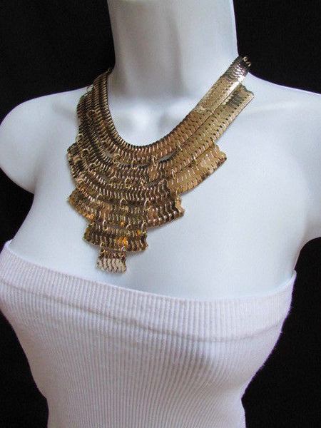 Wide 6 Strands Gold Links Chains Metal Statement Necklace + Matching Earrings Set New Women - alwaystyle4you - 9
