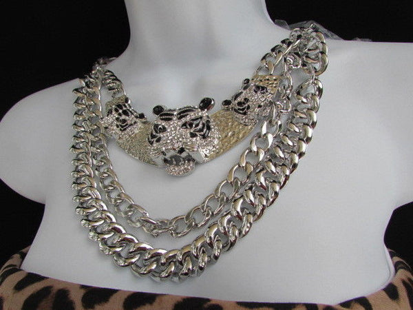 Wide Silver Chain Panther Tiger Safari Pendant Necklace + Earring Set New Women Fashion - alwaystyle4you - 9