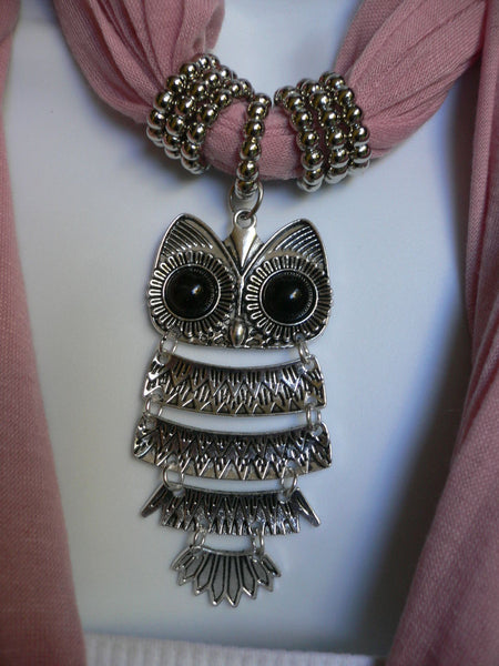 New Women Long Beige / Pnk Soft Scarf Fashion Necklace Silver Owl Pendant Rhinestones - alwaystyle4you - 17