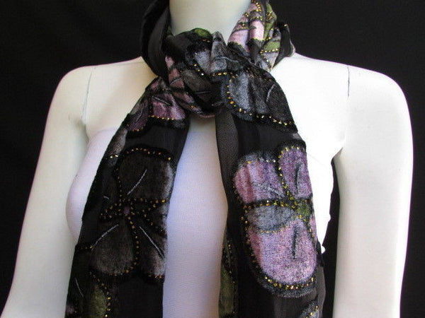 Black Long Fabric Neck Scarf Metallic Big Flowers Faux Velvet New Women Fashion Fashion - alwaystyle4you - 8