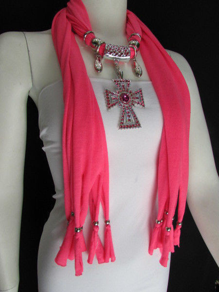 New Women Soft Fabric Dark Brown / Pink Scarf Necklace Western Rhinestones Cross Pendant - alwaystyle4you - 9
