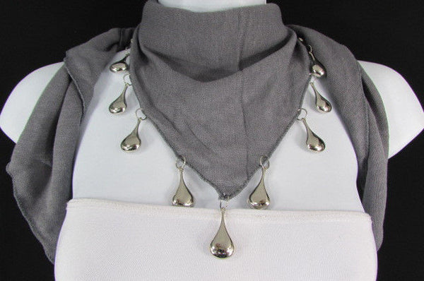 Solid New Women Scarf Fashion Necklace Gray Short Fabric Neck Multi Silver Drops Beads - alwaystyle4you - 9