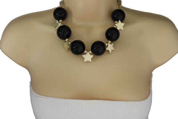 Black / Silver / Gold / Red / White Metal Stars Ball Beads Short Ivory Necklace + Earring Set New Women Fashion Jewelry - alwaystyle4you - 4