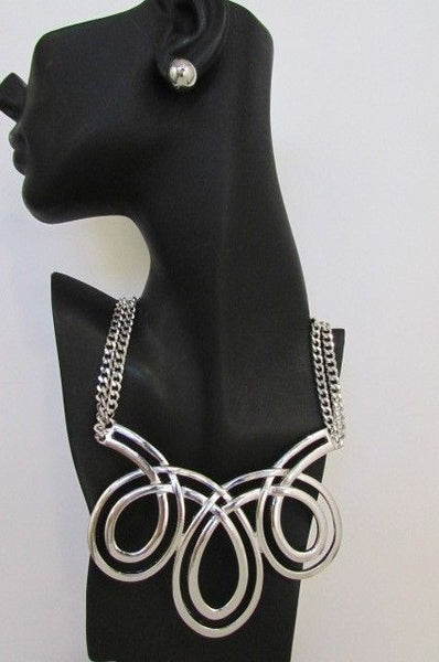 Gold / Silver Twisted 3 Drops Chain Necklace + Earring Set New Women Chunky Fashion - alwaystyle4you - 9