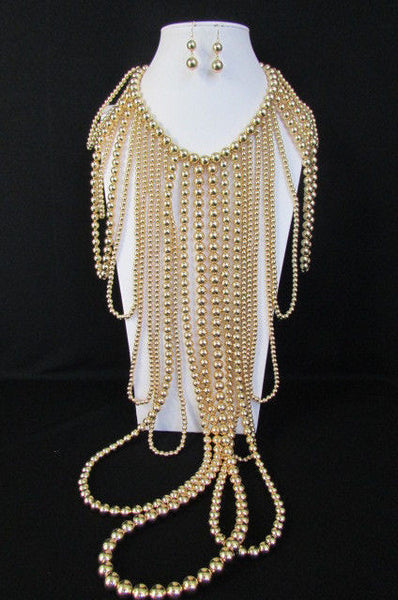 "Gold Multi Ball Beads 30"" Extra Long Unique Statement Necklace + Earrings Set  New Women Fashion - alwaystyle4you - 14"