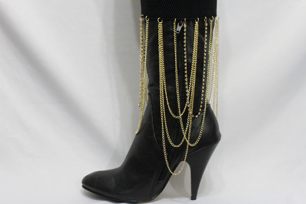 Gold Metal Boot Bracelet Chain Long Drop Bling Anklet Elastic Band New Women Western Hot Accessories - alwaystyle4you - 9