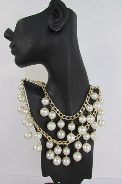 Gold Metal Long Double Chains 2 Strands Big Pearl Beads New Women - alwaystyle4you - 7