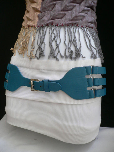 Aqua Blue Taupe Light Brown Black Red Faux Leather Elastic Hip Waist Belt Silver Buckle And Rings Rib Cage Women Fashion Accessories S M - alwaystyle4you - 20