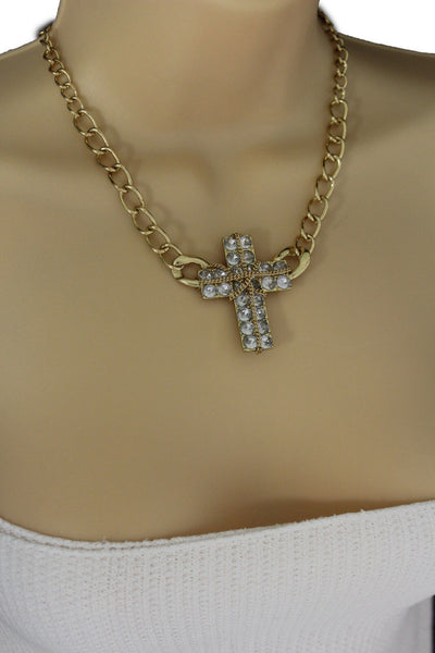 Short Gold / Silver Metal Chains Cross Pendant Necklace + Earring Set New Women Fashion Jewelry - alwaystyle4you - 10
