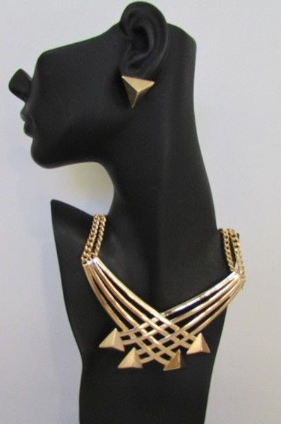 "Gold Silver New Women 14"" Strands Metal Chains Fashion Necklace Arrows + Earring Set - alwaystyle4you - 14"