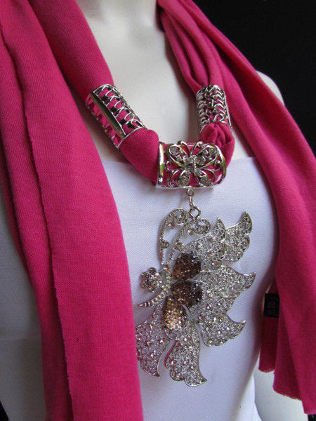 Pink Blue Black Brown Bright Coral Soft Fabric Scarf Long Necklace Big Silver Butterfly Pendant New Women Fashion - alwaystyle4you - 10