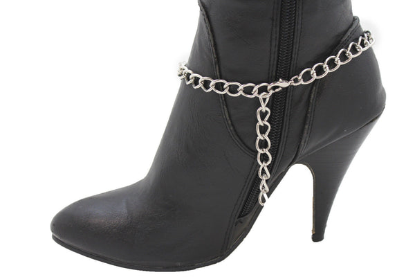 Silver Boot Chains Bracelet Beaded Square Anklet Shoe Bling Charm New Women Fashion Accessories - alwaystyle4you - 11