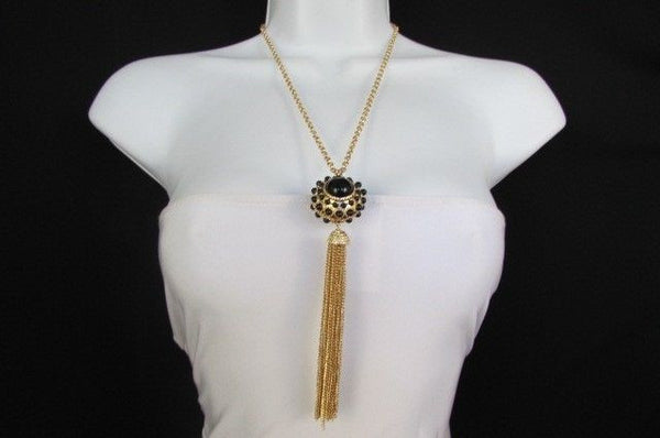 "Gold Metal Long Chains Big Ball Black Dots Fringe Fashion Necklace + Earrings Set New Women 26"" - alwaystyle4you - 8"