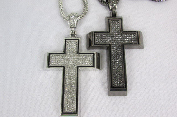 Pewter / Silver Metal Chains Long Necklace Boarded Cross Pendant New Men Hip Hop Fashion - alwaystyle4you - 14