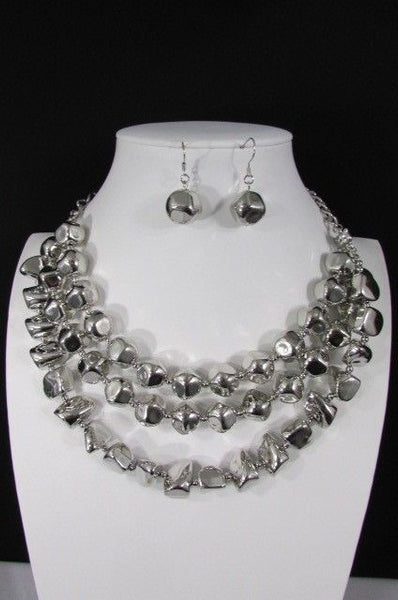 Long Shiny Silver Plastic Beads 3 Strands Fashion Necklace + Earring Set New Women - alwaystyle4you - 14