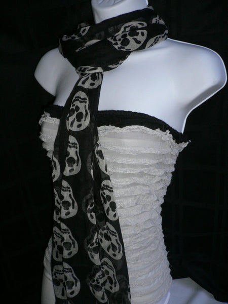 New Women Black Scarf Gray Beautiful Skulls Skeleton Drawing Soft 100% Polyester - alwaystyle4you - 9
