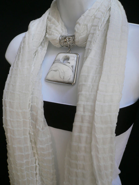 New Women Accessories White Poofy Soft Fashion Scarf Necklace Big Square Bead Pendant - alwaystyle4you - 11