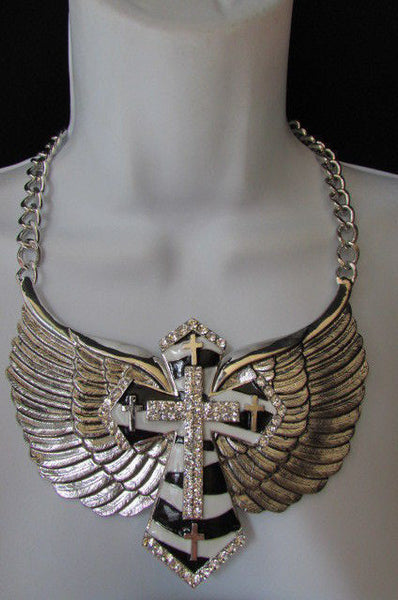 Big Bow Zebra Angel Wings Pendant Black Cross Stripes Rhinestones New Women - alwaystyle4you - 11
