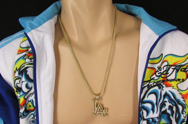 "Gold Silver Pewter Metal Chains 25"" Long Necklace Pewter Big LA Pendant New Men Fashion - alwaystyle4you - 22"