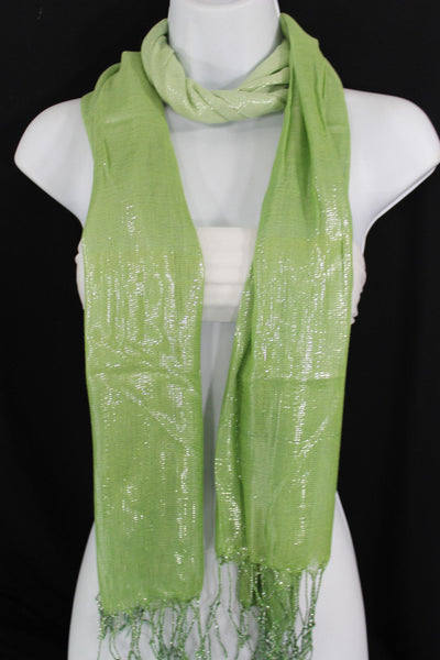 Green Neck Scarf Long Soft Fabric Tie Wrap Classic Bright Shiny New Women Jewelry Accessories - alwaystyle4you - 9